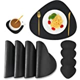 SUBEKYU Faux Leather Placemats and Coasters Set, Washable Round Table Mat, Waterproof Coffee Mats, Heat-Resistant Place Mat f