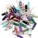 Mutilcolor 50pcs Gemstone Bullet Shape Healing Pointed Chakra Beads Crystal Quartz Stone Randow Color Pendants for Necklace J