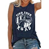 Umsuhu Find Your Road Shirts Tank Tops Women Sleeveless Summer Graphic Tank Tops Tee Shirts