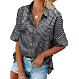 GOSOPIN Women Casual Loose Long Sleeve Striped Button Down Blouse Tops