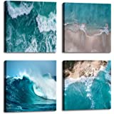 Beach Decorations for Home Aerial View Beautiful of Sea Waves White Sand Tropical Beach with Turquoise Sea Water - 4 Panels F