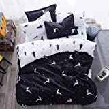 Mengersi Christmas Deer Bedding Pillowcase Duvet Cover Set With Zipper (Queen, White Deer)