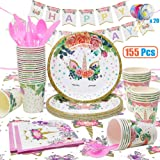 Unicorn Party Supplies, 155 Pcs Disposable Unicorn Tableware Set with Balloons, Napkins, Plates, Cups, Utensils, Banners for