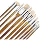 11pcs Professional Paint Brush Set-100% Natural Chungking Hog Bristle Artist Watercolor Brushes for Acrylic Gouache Oil Paint