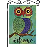 AOYEGO Owl Welcome Garden Flag 12.5x18 Inch Vertical Double Sided Rainbow Cute Owl Tree Branch Yard Garden House Flag for Out