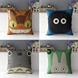 WOMHOPE 4 Pcs Studio Ghibli My Neighbor Totoro Series - Cotton Linen Throw Pillow Case Cushion Cover Square Throw Cover 18x18