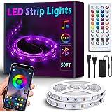 50Ft/15M Bluetooth RGB LED Strip Lights - Music Sync LED Light Strip Controlled by Smart Phone APP - 450LEDs RGB LED Light St