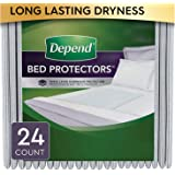 Depend Waterproof Bed Pads, Overnight Absorbency, 12 count, Disposable Underpads (Pack of 2)