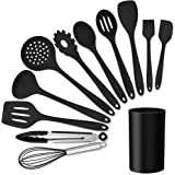 LIANYU 12-Piece Silicone Kitchen Cooking Utensils Set with Holder, Kitchen Tools Include Slotted Spatula Spoon Turner Ladle T