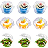 Individual Cupcake Container - Single Compartment Cupcake Carrier Holder Box with Lid Use for Sandwich Hamburgers Fruit Salad