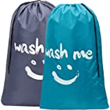 HOMEST 2 Pack Wash Me Travel Laundry Bag, 28 x 40 Inches Rip-Stop Nylon Heavy Duty Dirty Clothes Bag with Drawstring, Machine