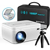 BIGASUO [2021 Upgrade] Full HD Bluetooth Projector with Built-in DVD Player, Portable Mini Projector Compatible with Phone/Pa