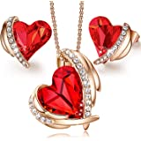 CDE Pink Angel 18K Rose Gold Jewelry Set fro Mother's Day Women Heart Pendant Necklaces and Stud Earrings Sets for Her Grandm
