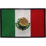 EmbTao Patches Mexico Flag Embroidered Mexican Applique Hook & Loop National Emblem