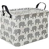 Rectangular Storage Bin Canvas Fabric Storage Basket,Waterproof Coating Toy Organizer with Handles,Gift Basket for Home,Offic