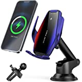 FDGAO Wireless Car Charger 15W/10W Qi Fast Charging Car Phone Holder for Air Vent and Dashboard; Auto-Clamping Car Mount Wire