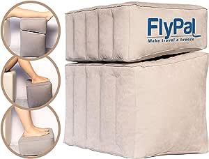 Flypal インフレータブルフットレスト 旅行 自宅 オフィスに 息を吹き上げる枕クッション 長時間フライトで子供に 17インチ x 11インチ x 17インチ グレー
