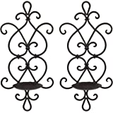 Ticco Wall Candle Sconce Set of 2 Wrought Iron Candle Holder Hanging Wall Mounted Candle Sconces for Living Room Home Decor