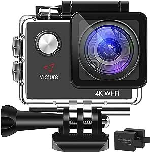 Victureアクションカメラ4K超高品質1600万画素WIFI 2個バッテリ2インチ画面170度広角30M防水複数の部分