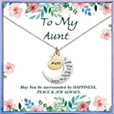 NEWNOVE I Love You to The Moon and Back Pendants Necklace Best Christmas Birthday Gifts for Mom Daughter Grandama Sister Aunt