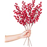 Lvydec 4 Pack Artificial Red Berry Stems - 20 Inch Christmas Holly Berry Branches for Holiday Home Decor and Crafts