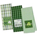DII 100% Cotton, Machine Washable, Everyday Kitchen Basic, Oversized, Embroidered Dishtowel, 18x28, Set of 3- St Patrick's Da