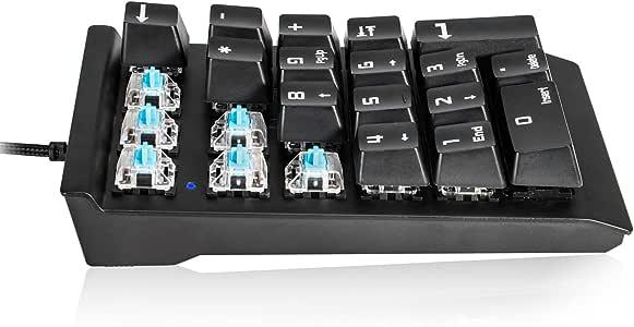 テンキー NorthCrown メカニカル式 青軸 テンキーボード USB接続 メカニカル式 青軸 数字キーボード ナンバーパッド テンキーパッド 23キー 防水機能付き 有線 小型 持ち運び便利 MacBook ラップトップ タブレット PC コンピュータ用 Windows/Mac OS対応 (ブラック)