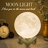 Mydethun Moon Lamp Large Moon Light Night Light for Kids Gift for Women USB Charging and Touch Control Brightness Two Tone Wa