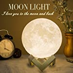 Mydethun Moon Lamp Moon Light Night Light for Kids Gift for Women USB Charging and Touch Control Brightness 3D Printed...