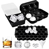 Luxerlife Ice Cube Tray, 3 Pack Silicone Ice Cube Trays with Lids, Sphere Square Honeycomb Ice Cube Mold, Flexible,Reusable,