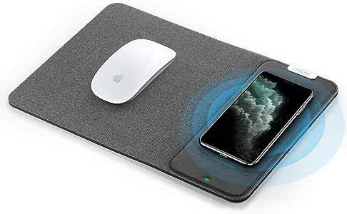 Lecone マウスパッド Qi ワイヤレス充電器 無線充電 10W急速ワイヤレスチャージャーマウスパッド 置くだけ充電 手触り良い MOUSEPAD Samsung Galaxy S10 / S9 / S8 Plus Note 10/9/8 iPhone 11 Pro/Xs Max/XR/X/XS / 8/8 Plus Qi対応デバイス 日本語取扱説明書 (グレー)