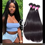 Gabrielle Brazilian Straight Hair 3 Bundles 100% Human Hair Bundles 7A Unprocessed Brazilian Virgin Hair Natural Color Hair E