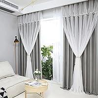 姫系 カーテン 遮光 おしゃれ フリルカーテン 可愛い 二重カーテンレース 一体型 掃き出し窓 腰窓 出窓用 遮光率90…