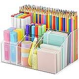 Vitviti Acrylic Pen Holder, Clear Desk Organizer, Pen Organizer for Desk, 7 Compartments Desk Pencil Holder, Desktop Statione