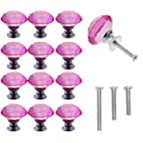 YUYIKES 30mm Diamond Shape Crystal Glass Cabinet Knobs Pink 12 Pack for Drawer, Chest, Bin, Dresser, Cupboard (12 pcs of Pink