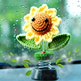 Sunflower Car Accessories Dashboard Decorations, Crochet Smiley Shaking Sun Flowers Beetle Fresheners Diffuser Car Decor for