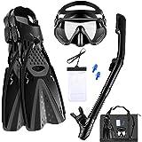 Aisrida Snorkeling Gear for Adults Snorkel Set Mask Fin Snorkeling Set with Gear Bag 180° Panoramic View Anti-Fog Scuba Snork