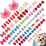 PAWCHIE Dog Bows for Small Dogs Hair - 50 PCS Cute Dog Bows Girl with 100PCS Rubber Bands Rhinestone Colorful Flower Bowtie C