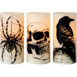 Eldnacele Halloween Flickering Candles with Skull, Spider Web, Crow Raven Decals Set of 3, Battery Operated Halloween Themed