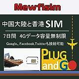 中国大陸・香港で使える 4G データ使い放題 7日間利用可能 Google、Facebook,Twitterも接続可能 中国香港聯通 プリペイドSIMカード