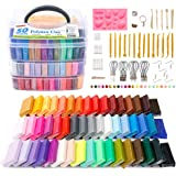 Polymer Clay, Shuttle Art 50 Colors 1.3 oz/Block Soft Oven Bake Modeling Clay Kit, 19 Tools and 10 Kinds of Accessories, Non-