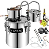 VEVOR Moonshine Still 5 Gal 21L Stainless Steel Water Alcohol Distiller Copper Tube Home Brewing Kit Build-in Thermometer for