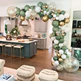 GIHOO 127PCS Olive Green Balloon Garland Arch Kit White Gold Confetti Balloons Retro Green Balloon and Gold Meatllic Chorme L