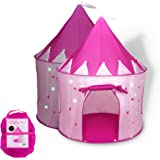 FoxPrint Princess Castle Play Tent with Glow In The Dark Stars, Conveniently Folds in To A Carrying Case, Your Kids Will Enjo