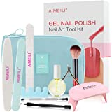 AIMEILI Gel Nail Polish Nail Art Tool Kit for Travel, Upgraded Portable Manicure Tool Kit Set, UV LED Lamp Cuticle Oil Includ