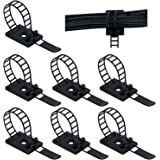 50pcs Adjustable Self-Adhesive Nylon Cable Straps Cable Ties Cord Clamp for Wire Management (Black)