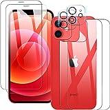【2+2+2】 QULLOO iPhone 12 mini 用 フィルム+カメラフイルム+背面フィルム 5.4インチ 強化ガラス 露出オーバー防止 2眼 高硬度9H 防指紋 傷防止 耐衝撃 99%高透過率 飛散防止 iPhone12 mini 202