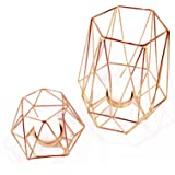 Geometric Candle Holders Rose Gold Party Decoration Tall and Short Tea Light Votive Candle Stand Rose Gold Desk Accessories R