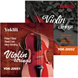 Yoklili 2-Pack Full Set of Violin Strings, 4/4 Scale Solid Steel Core with Ball End, Warm Tone E A D G