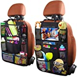 Yiomxhi 2Pack Car Backseat Organizers for Kids with Clear iPad Holder, Universal Fit, Waterproof and Easy to Wash Car Organiz